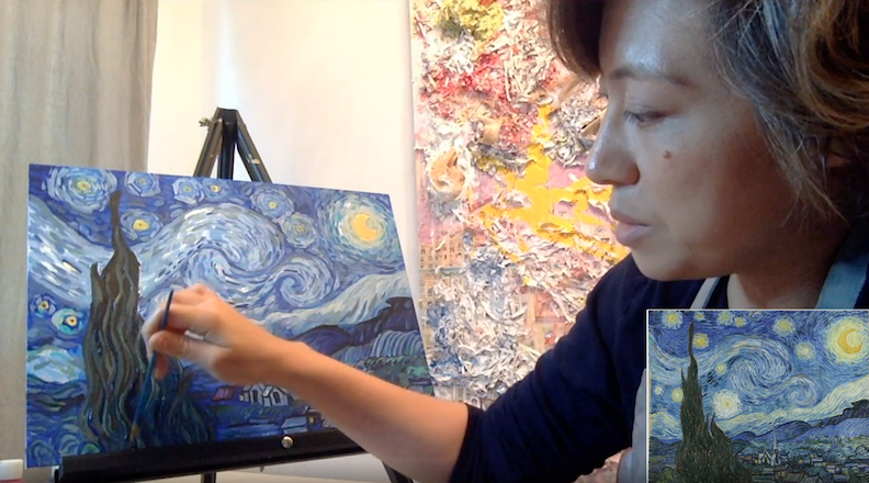 Gooroo Eve works on Van Gogh's The Starry Night in her painting masterpieces series