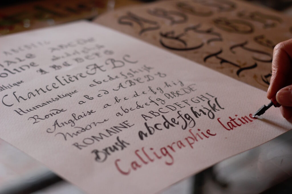 Learning different styles of the ancient calligraphy alphabet